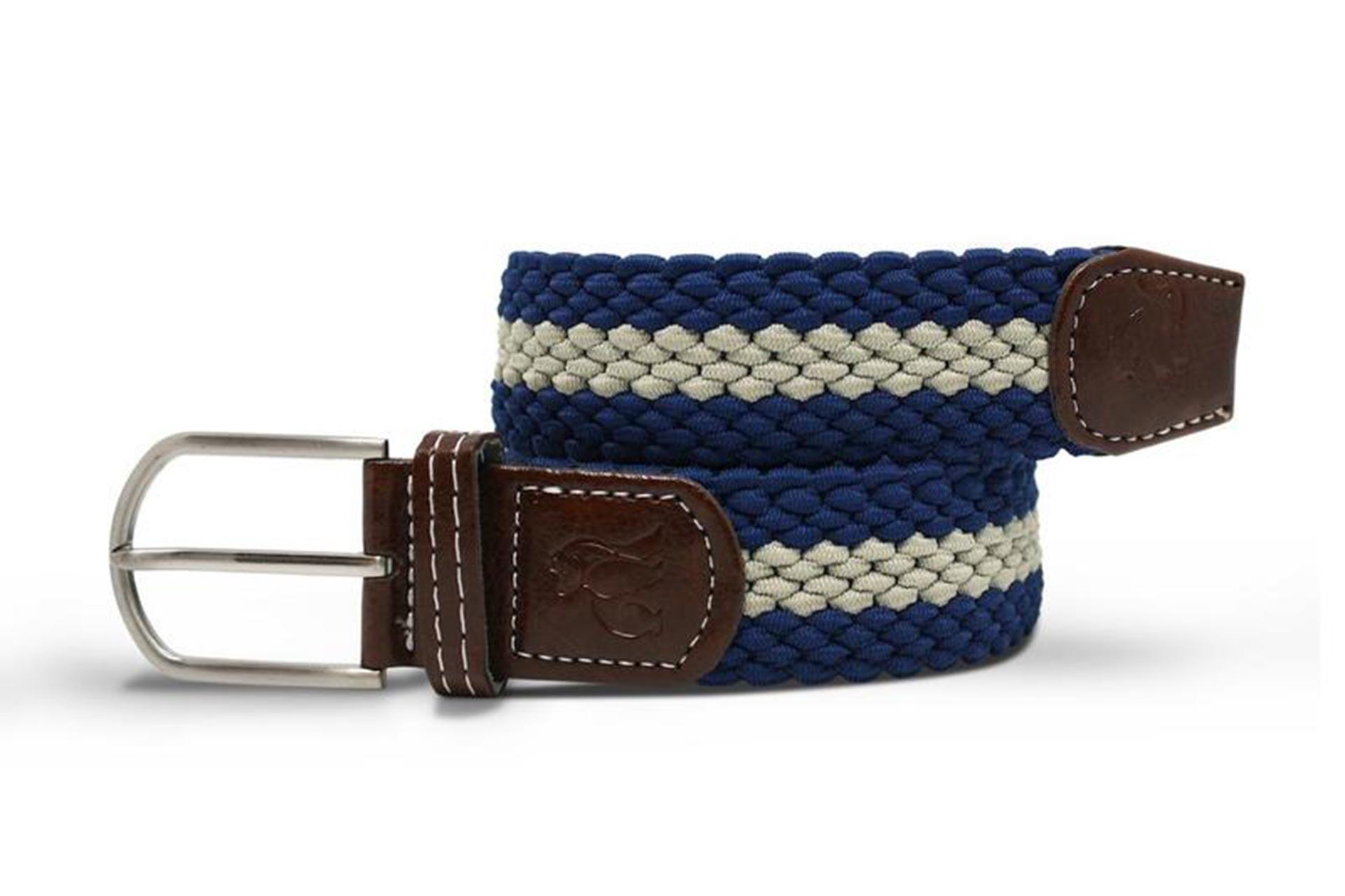 belt woven belt blue cream stripe Natural Wear UK